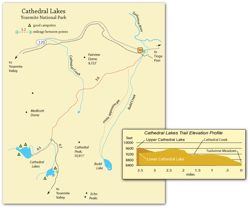 map of Cathedral Lakes trail, Yosemite National Park, CA