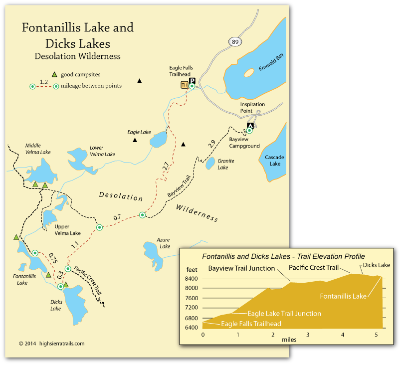 map of trail to Fontanilli Lake and Dicks Lake, Desolation Wilderness, CA