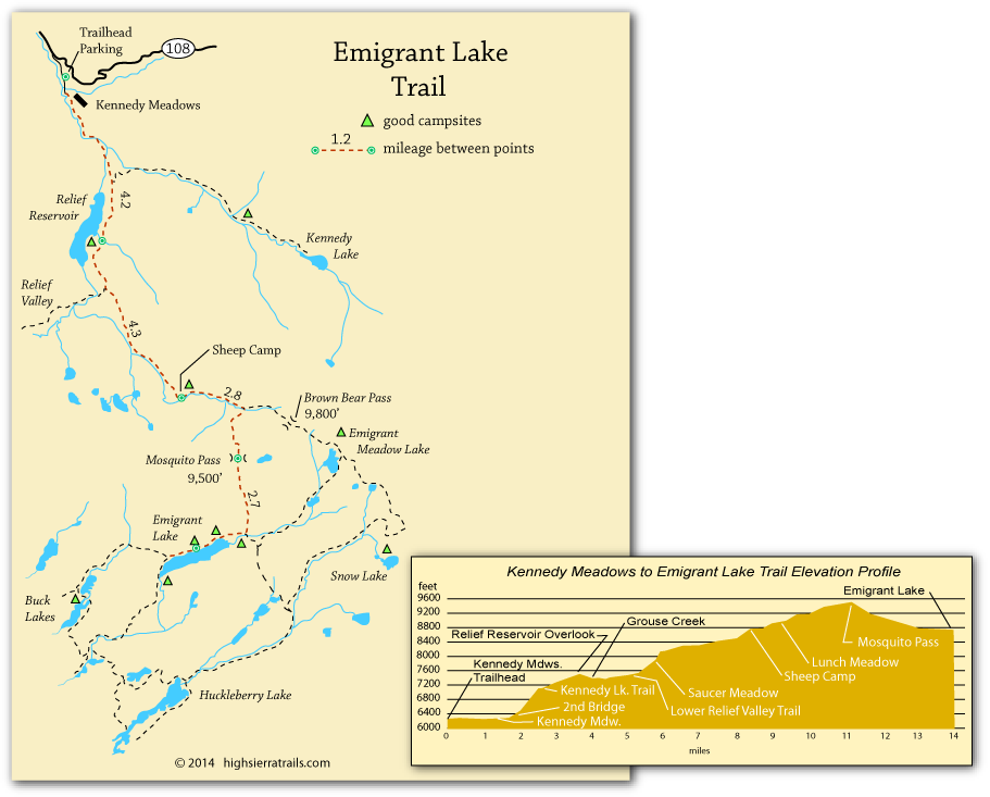 Emigrant Lake - Trail Map