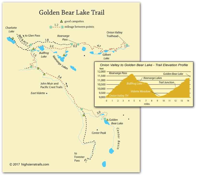 map of trail to Golden Bear Lake, Kings Canyon National Park, CA