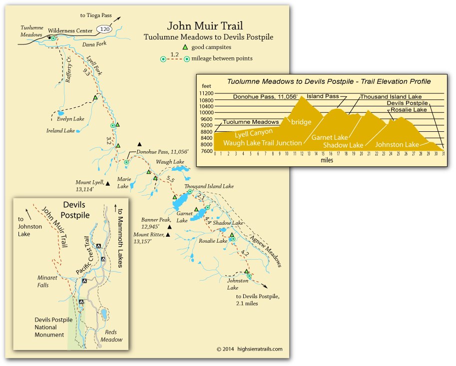 Trail map of route from Tuolumne Meadows to Devils Postpile,  CA