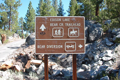 photo of sign pointing to Bear Creek Diversion Dam, John Muir Wilderness, CA