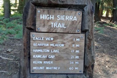 sign at start of High Sierra Trail, Sequoia National Park, CA