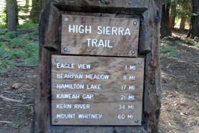 High Sierra Trail Crescent Meadow Trailhead