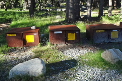 bear boxes near trailhead for Young Lakes, Yosemite National Park,  CA
