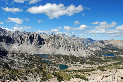 Kearsarge Lakes from the top of Kearsarge Pass, Kings Canyon National Park, CA